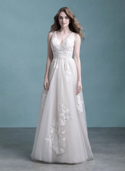 Sleeveless V-Neck Tulle A-line Wedding Dress by Allure Bridals - Image 1