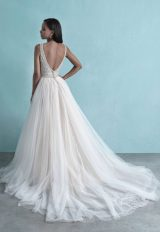 Sleeveless V-Neck Tulle Ball Gown Wedding Dress With Beaded Bodice by Allure Bridals - Image 2