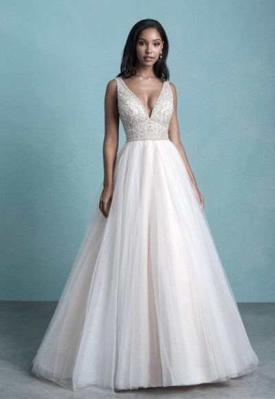 Sleeveless V-Neck Tulle Ball Gown Wedding Dress With Beaded Bodice by Allure Bridals