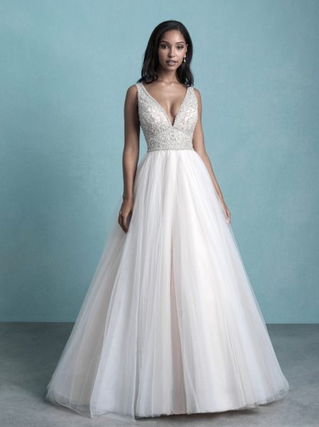 Sleeveless V-Neck Tulle Ball Gown Wedding Dress With Beaded Bodice by Allure Bridals - Image 1