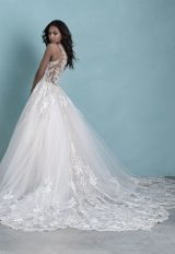 Sleeveless V-Neck Tulle Ball Gown Wedding Dress With Beaded Lace by Allure Bridals - Image 2