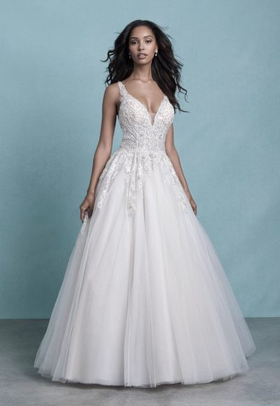 Sleeveless V-Neck Tulle Ball Gown Wedding Dress With Beaded Lace by Allure Bridals