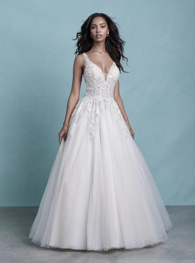 Sleeveless V-Neck Tulle Ball Gown Wedding Dress With Beaded Lace by Allure Bridals - Image 1