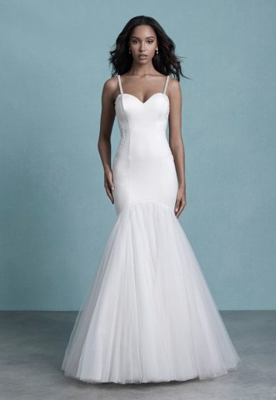 Spaghetti Strap Sweetheart Neckline Fit And Flare Wedding Dress by Allure Bridals