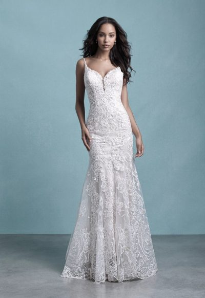 Spaghetti Strap Sweetheart Neckline Lace Fit And Flare Wedding Dress by Allure Bridals