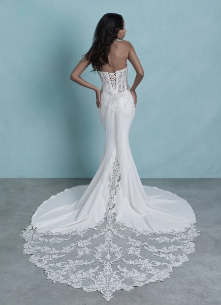 Strapless Crepe Sheath Wedding Dress With Beaded Lace Details by Allure Bridals - Image 2