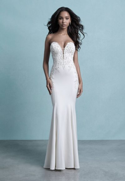 Strapless Crepe Sheath Wedding Dress With Beaded Lace Details by Allure Bridals