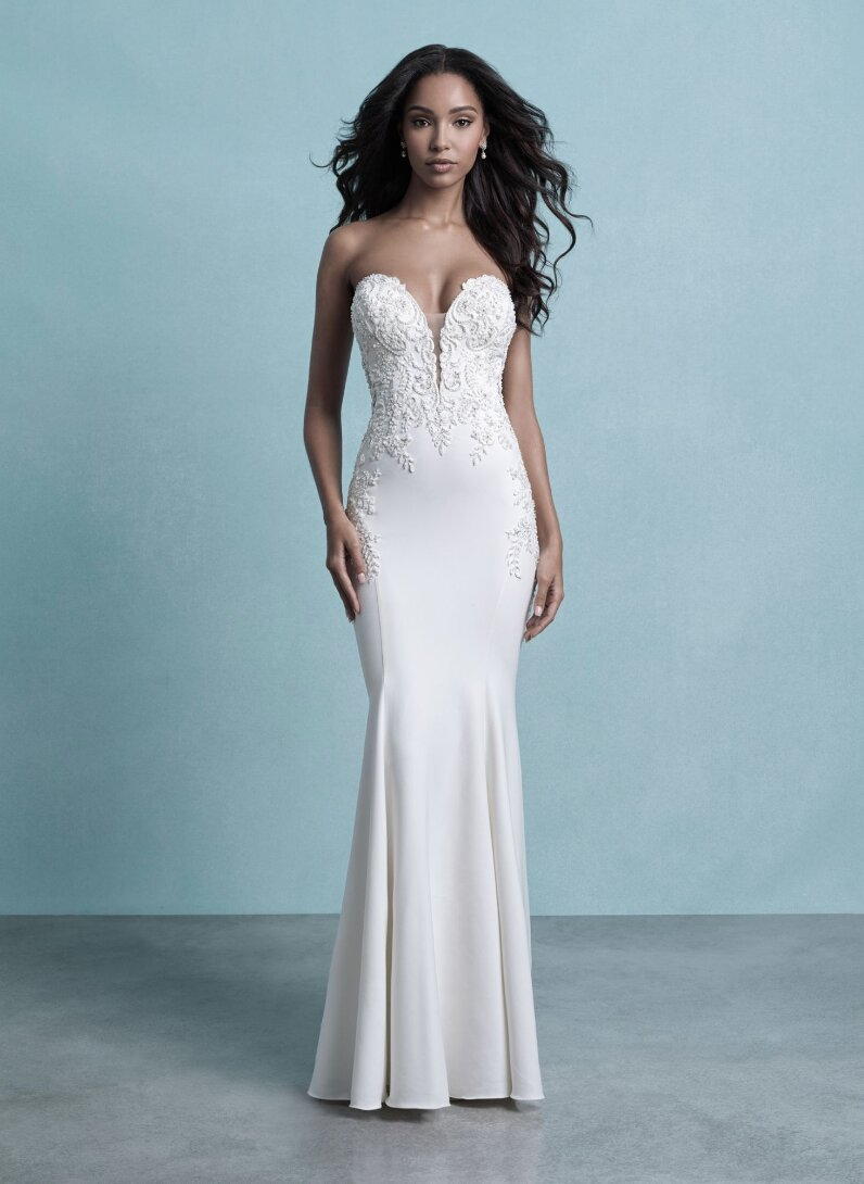 Strapless Crepe Sheath Wedding Dress With Beaded Lace Details Kleinfeld Bridal