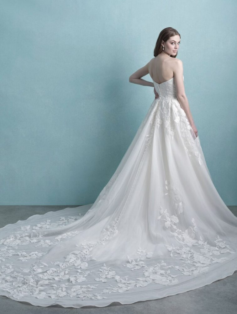 Strapless Ruched Ball Gown Wedding Dress by Allure Bridals - Image 2