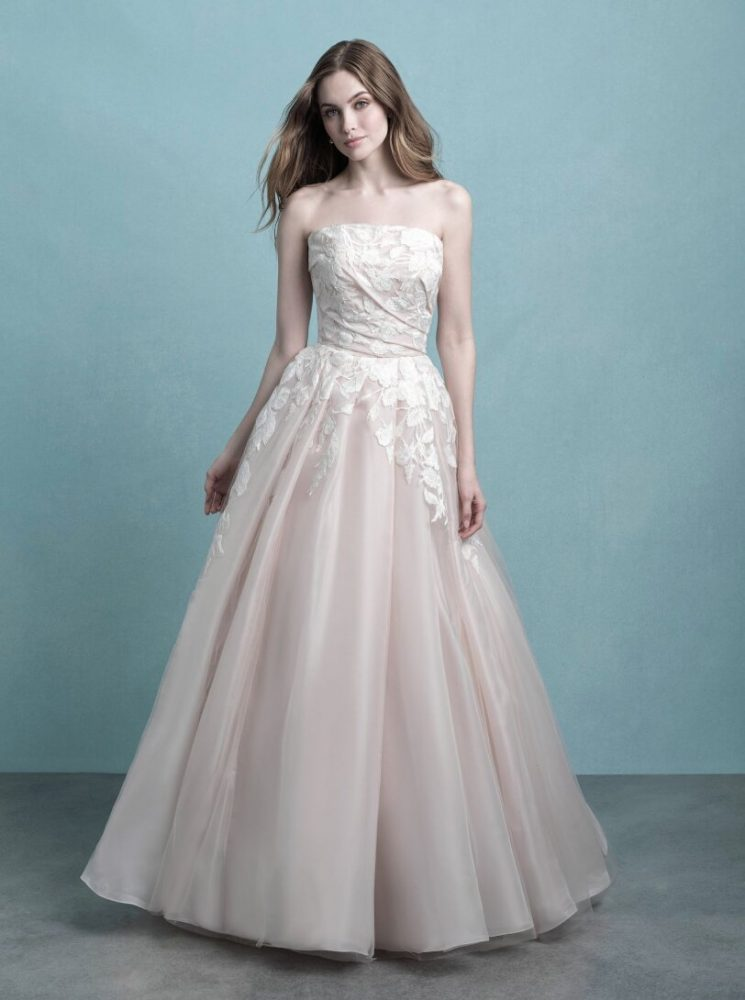 Strapless Ruched Ball Gown Wedding Dress by Allure Bridals - Image 1