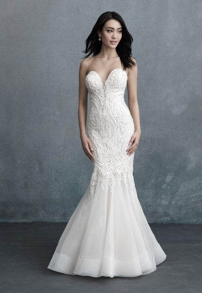 Strapless Sweetheart Neckline Beaded Fit And Flare Wedding Dress by Allure Bridals