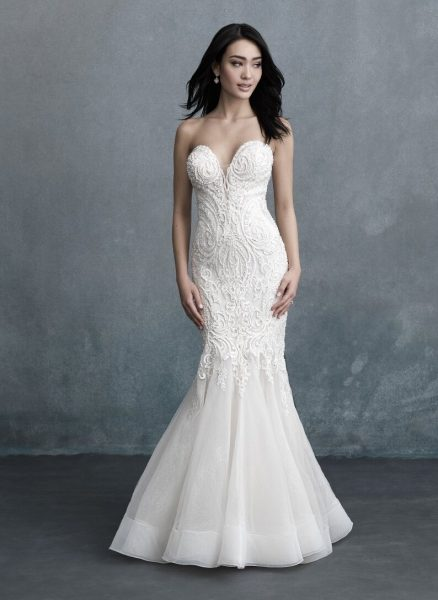 Strapless Sweetheart Neckline Beaded Fit And Flare Wedding Dress by Allure Bridals - Image 1