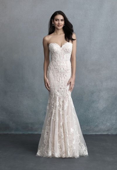 Strapless Sweetheart Neckline Emboidered Beaded Fit And Flare Wedding Dress by Allure Bridals