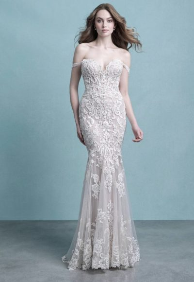 Strapless Sweetheart Neckline Lace Sheath Wedding Dress by Allure Bridals