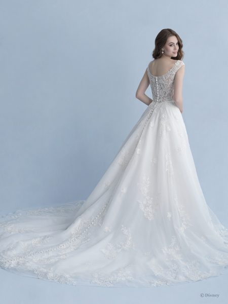 Cap Sleeve Bateau Neckline Ball Gown Wedding Dress With Embroidered Lace by Disney Fairy Tale Weddings Collection - Image 2