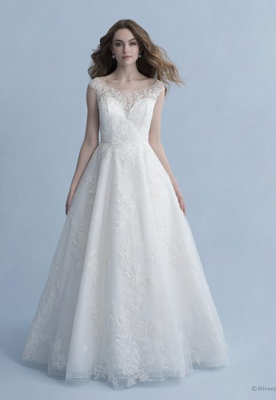 Cap Sleeve Bateau Neckline Ball Gown Wedding Dress With Embroidered Lace by Disney Fairy Tale Weddings Collection