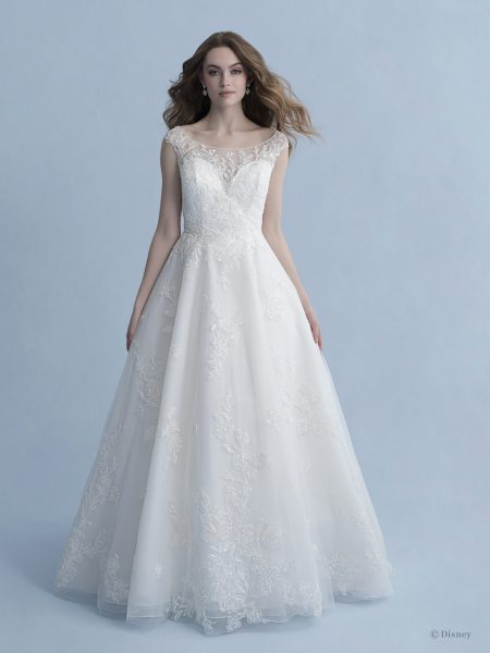 Cap Sleeve Bateau Neckline Ball Gown Wedding Dress With Embroidered Lace by Disney Fairy Tale Weddings Collection - Image 1