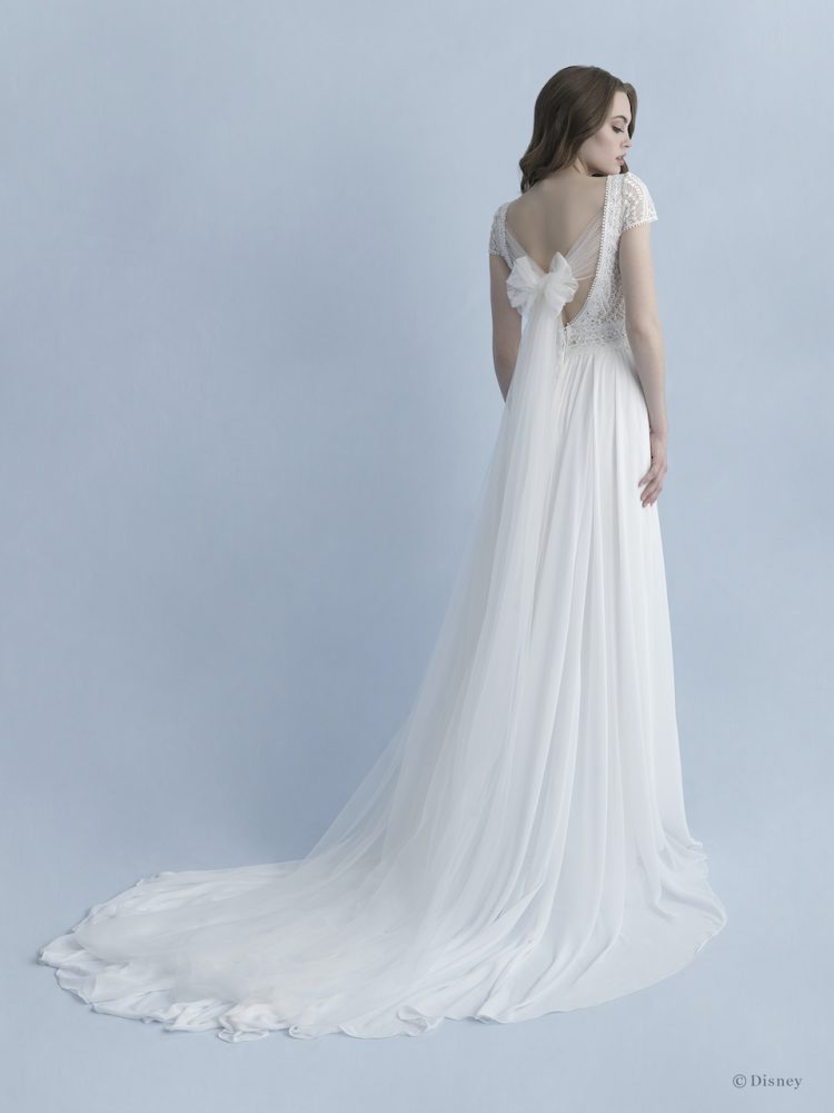 Cap Sleeve V-neckline A-line Wedding Dress With Cotton Lace Bodice, Chiffon Skirt And Bow At Back by Disney Fairy Tale Weddings Collection - Image 2