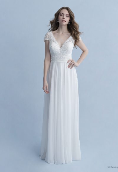 Cap Sleeve V-neckline A-line Wedding Dress With Cotton Lace Bodice, Chiffon Skirt And Bow At Back by Disney Fairy Tale Weddings Collection