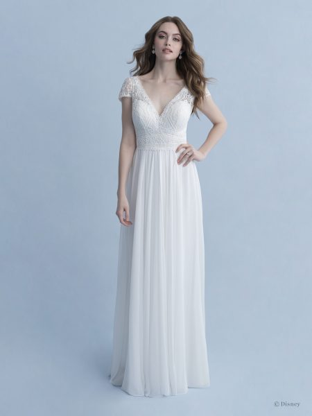 Cap Sleeve V-neckline A-line Wedding Dress With Cotton Lace Bodice, Chiffon Skirt And Bow At Back by Disney Fairy Tale Weddings Collection - Image 1