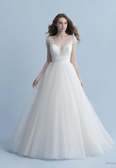 Cap Sleeve V-neckline Ball Gown Wedding Dress With Beaded Bodice And Tulle Skirt by Disney Fairy Tale Weddings Collection