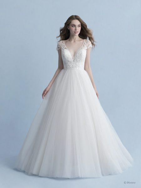 Cap Sleeve V-neckline Ball Gown Wedding Dress With Beaded Bodice And Tulle Skirt by Disney Fairy Tale Weddings Collection - Image 1