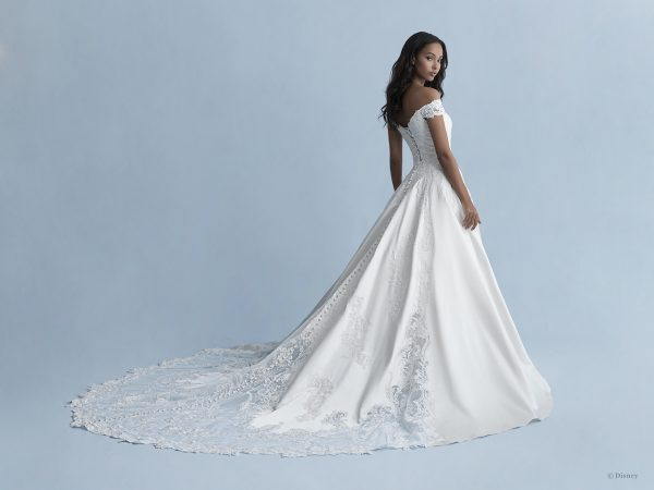 Off-the-shoulder Satin Ball Gown Wedding Dress With Lace Details by Disney Fairy Tale Weddings Collection - Image 2