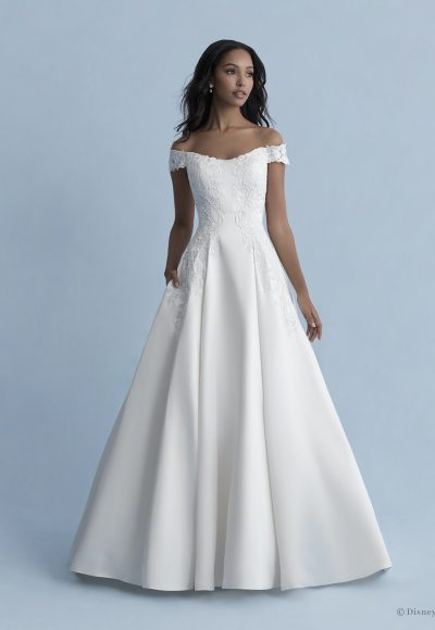 Off-the-shoulder Satin Ball Gown Wedding Dress With Lace Details by Disney Fairy Tale Weddings Collection