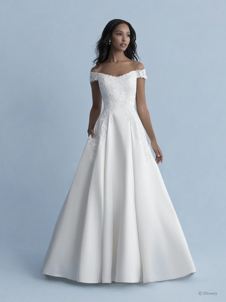 Off-the-shoulder Satin Ball Gown Wedding Dress With Lace Details by Disney Fairy Tale Weddings Collection - Image 1