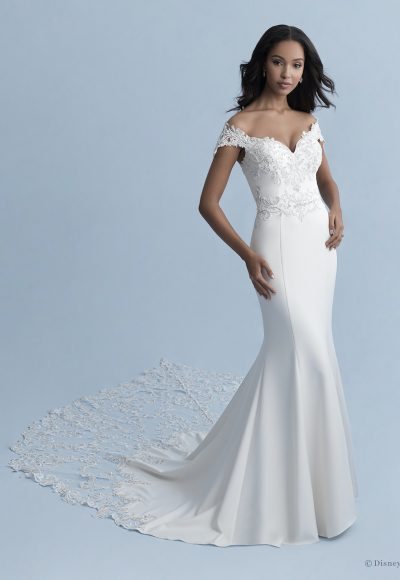 Off-the-shoulder V-neckline Stretch Crepe Fit And Flare Wedding Dress With Lace Appliqués by Disney Fairy Tale Weddings Collection
