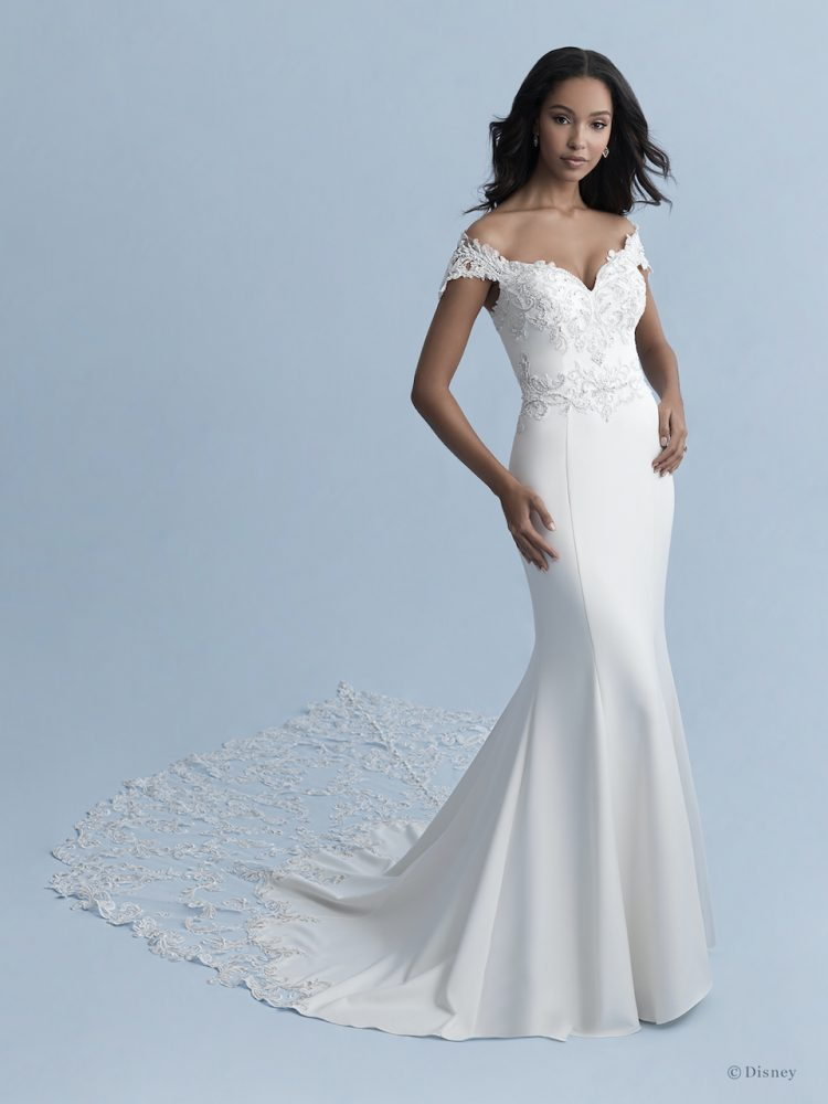 Off-the-shoulder V-neckline Stretch Crepe Fit And Flare Wedding Dress With Lace Appliqués by Disney Fairy Tale Weddings Collection - Image 1