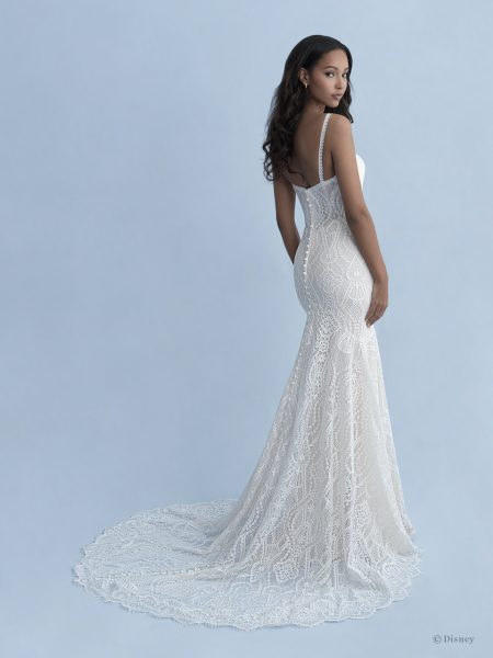 Spaghetti Strap V-neckline Cotton Lace Fit And Flare Wedding Dress by Disney Fairy Tale Weddings Collection - Image 2