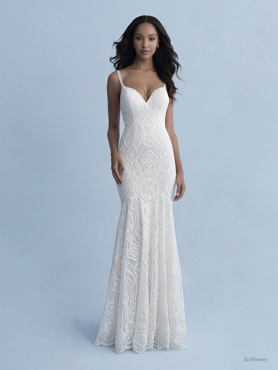 Spaghetti Strap V-neckline Cotton Lace Fit And Flare Wedding Dress by Disney Fairy Tale Weddings Collection - Image 1