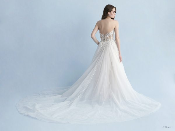 Strapless Sweetheart Neckline A-line Wedding Dress With Lace Bodice, Tulle Skirt And Detachable Cape by Disney Fairy Tale Weddings Collection - Image 2