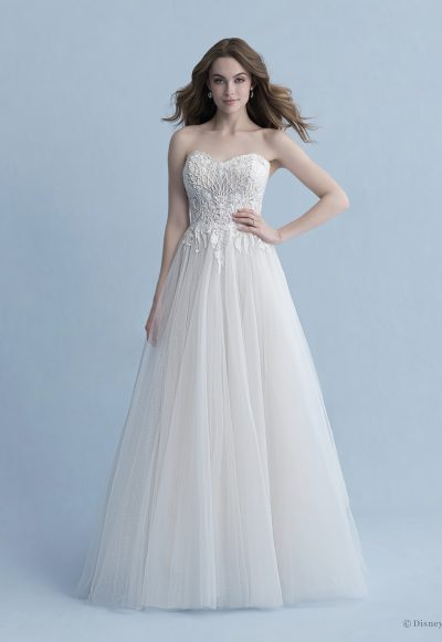 Strapless Sweetheart Neckline A-line Wedding Dress With Lace Bodice, Tulle Skirt And Detachable Cape by Disney Fairy Tale Weddings Collection