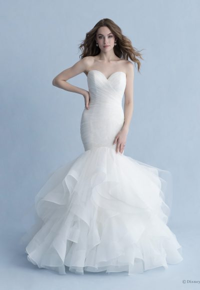 Strapless Sweetheart Neckline Ruched Tulle Mermaid Wedding Dress With Ruffle Skirt by Disney Fairy Tale Weddings Collection