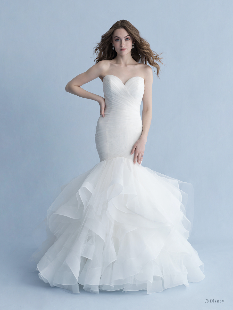 Strapless Sweetheart Neckline Ruched Tulle Mermaid Wedding Dress With Ruffle Skirt Kleinfeld Bridal