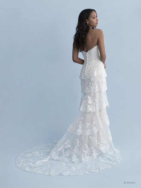 Strapless Sweetheart Neckline Tiered Sheath Wedding Dress With Lace And Tulle by Disney Fairy Tale Weddings Collection - Image 2