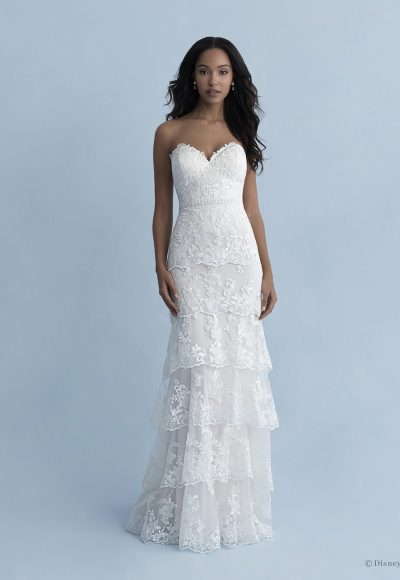 Strapless Sweetheart Neckline Tiered Sheath Wedding Dress With Lace And Tulle by Disney Fairy Tale Weddings Collection