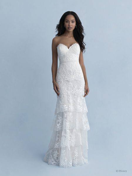 Strapless Sweetheart Neckline Tiered Sheath Wedding Dress With Lace And Tulle by Disney Fairy Tale Weddings Collection - Image 1