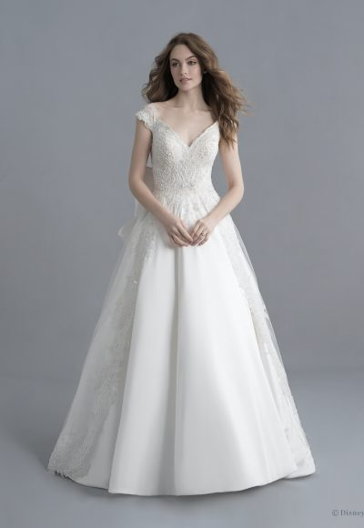 Cap Sleeve V-neckline Mikado Ball Gown Wedding Dress With Beading, Overskirt And Bow by Disney Fairy Tale Weddings Platinum Collection