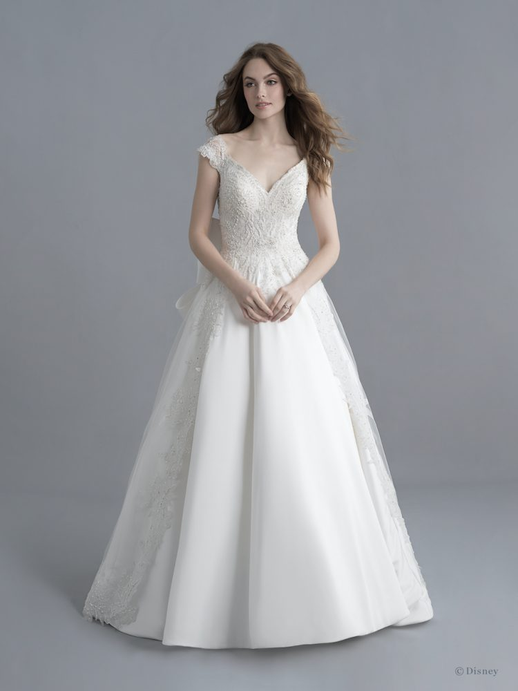 Cap Sleeve V-neckline Mikado Ball Gown Wedding Dress With Beading, Overskirt And Bow by Disney Fairy Tale Weddings Platinum Collection - Image 1