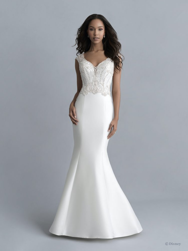 Cap Sleeve V-neckline Mikado Fit And Flare Wedding Dress With Beaded Bodice And Detachable Train by Disney Fairy Tale Weddings Platinum Collection - Image 2