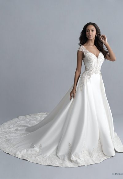 Cap Sleeve V-neckline Mikado Fit And Flare Wedding Dress With Beaded Bodice And Detachable Train by Disney Fairy Tale Weddings Platinum Collection