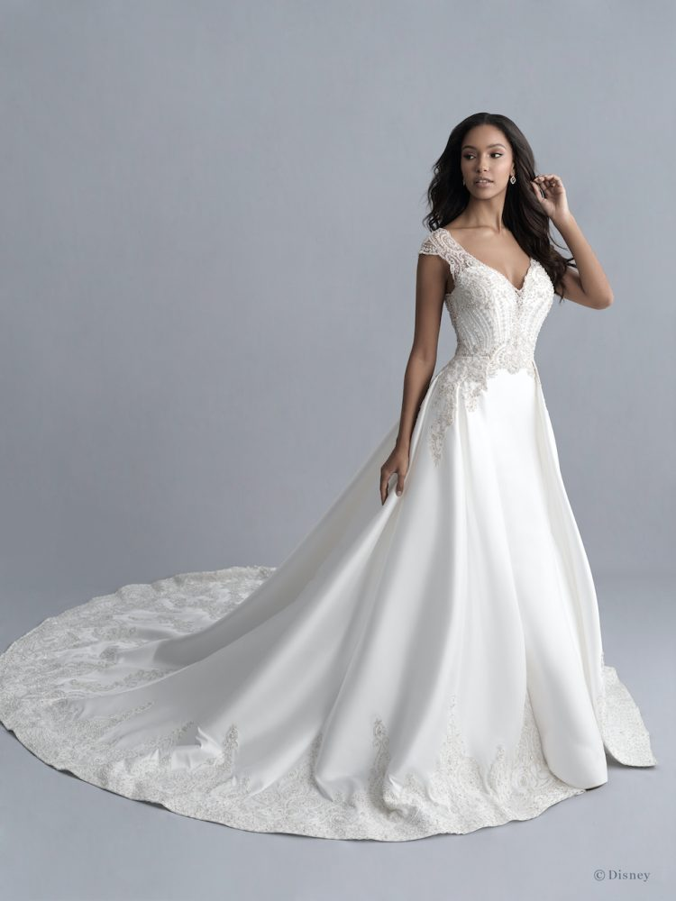 Cap Sleeve V-neckline Mikado Fit And Flare Wedding Dress With Beaded Bodice And Detachable Train by Disney Fairy Tale Weddings Platinum Collection - Image 1