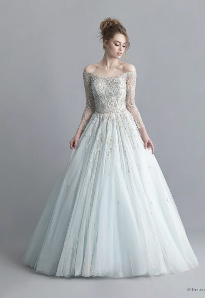 Off-the-shoulder 3/4 Sleeve Crystal Beaded Ball Gown Wedding Dress With Glitter Tulle by Disney Fairy Tale Weddings Platinum Collection