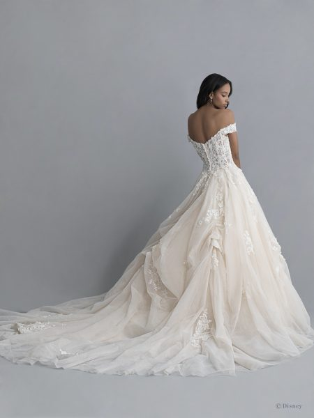Off-the-shoulder V-neckline Tulle Ballgown Wedding Wedding Dress With Pickups And Beading by Disney Fairy Tale Weddings Platinum Collection - Image 2