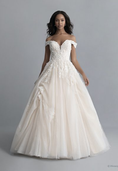 Off-the-shoulder V-neckline Tulle Ballgown Wedding Wedding Dress With Pickups And Beading by Disney Fairy Tale Weddings Platinum Collection