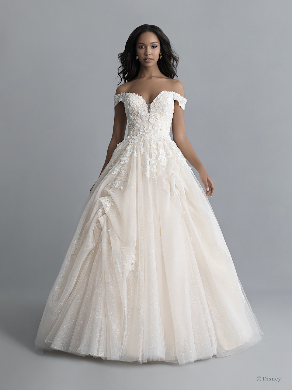 Off-the-shoulder V-neckline Tulle Ballgown Wedding Wedding Dress With  Pickups And Beading