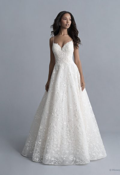 Spaghetti Strap Floral Beaded And Embroidered Ball Gown Wedding Dress With Sparkle Sequins by Disney Fairy Tale Weddings Platinum Collection